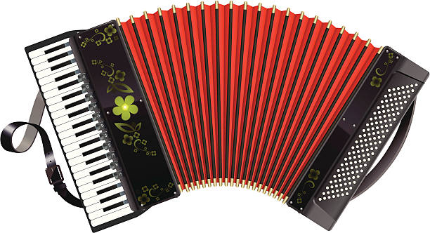 Stretched black Accordion vector art illustration