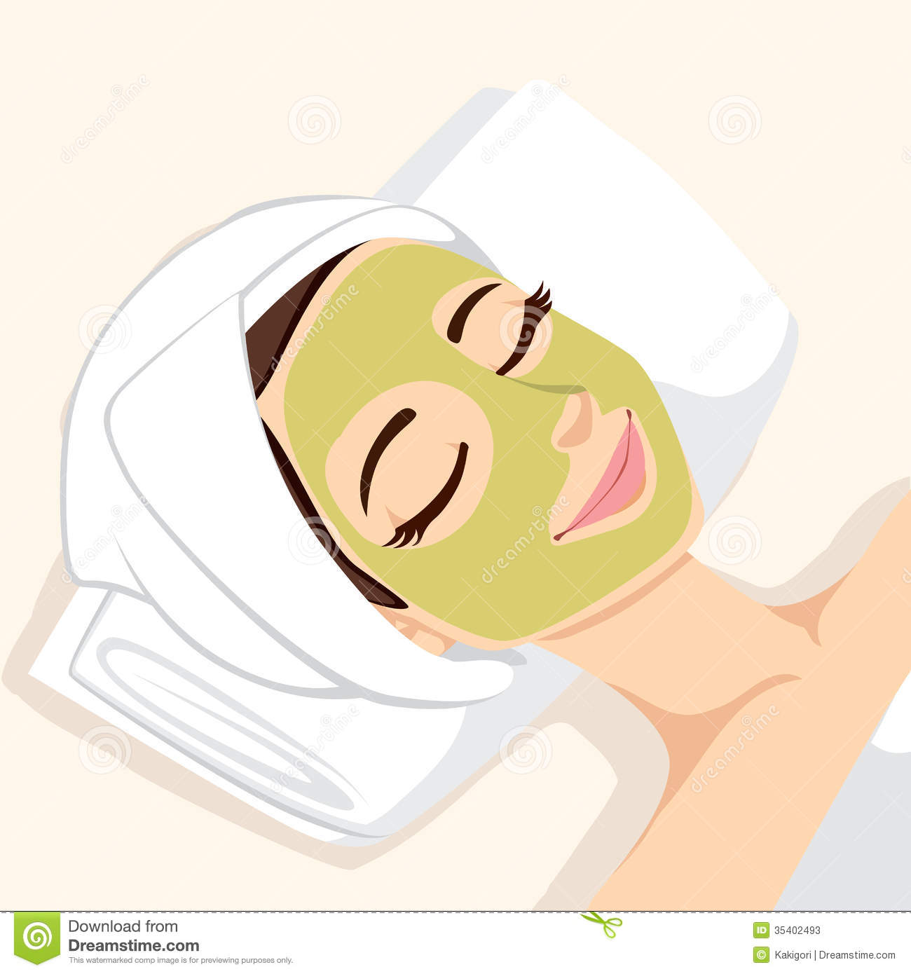Acne Treatment With Natural Facial Green Mask To Clean Face Skin
