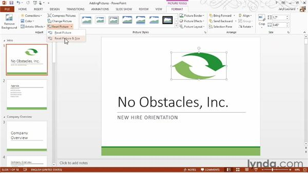 Adding pictures and clip art: PowerPoint 2013 Essential Training