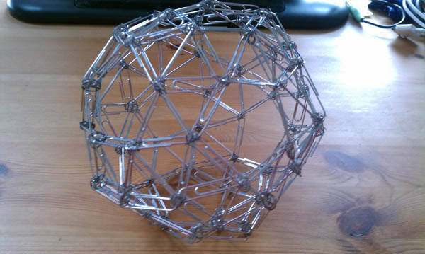 Advanced office-supply sculpture: paperclip dodecahedron