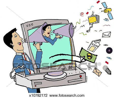 Clip Art - Man Advertising via the Internet. Fotosearch - Search Clipart,  Illustration Posters