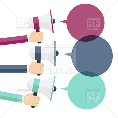 Hands and megaphone, speech bubbles, advertising, 142658, download  royalty-free vector ClipartLook.com