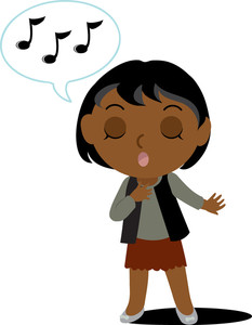 african american girl student - Sing Clip Art