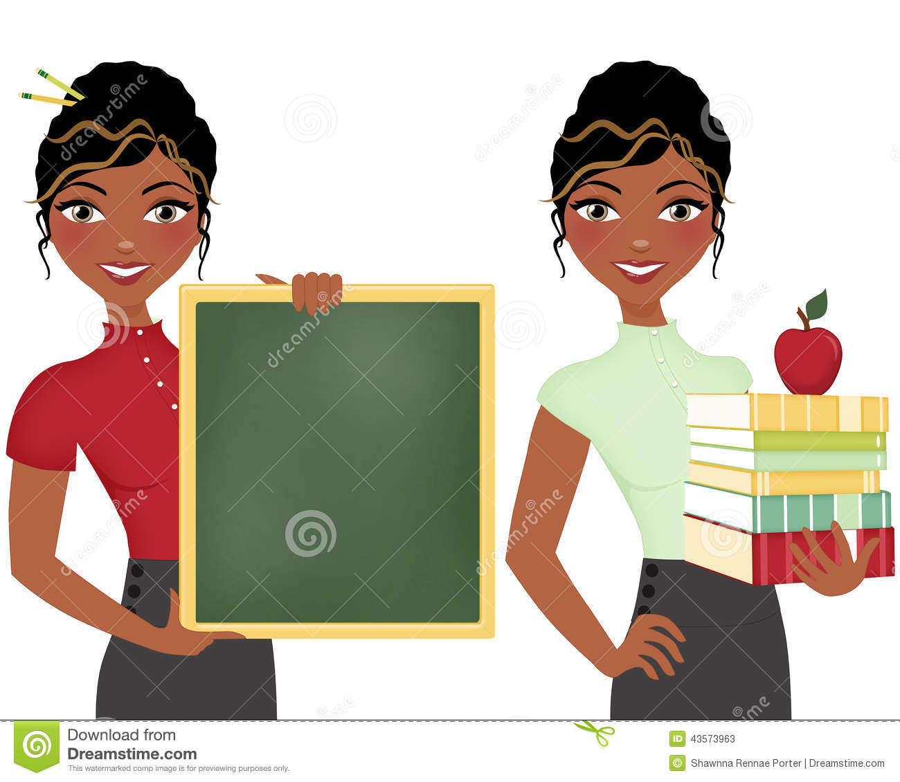 African American Teacher Double Clip Art Set Holding Books And Apple