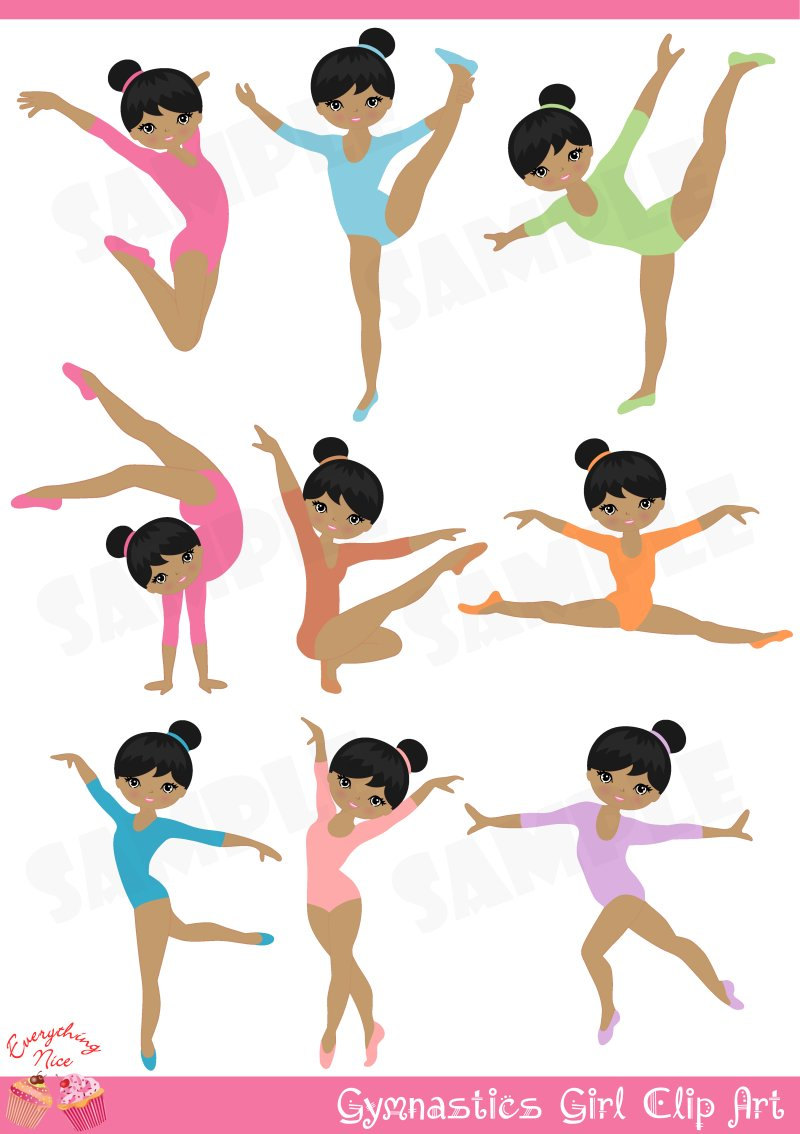 Afro Gymnastics Gymnast Girl Clip Art By-Afro Gymnastics Gymnast Girl Clip Art By 1everythingnice On Etsy-15