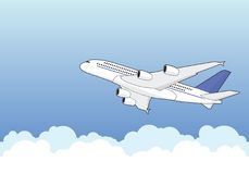 Airbus A380. An Airbus A380 climbing through clouds. Illustration, vector  Royalty Free Stock