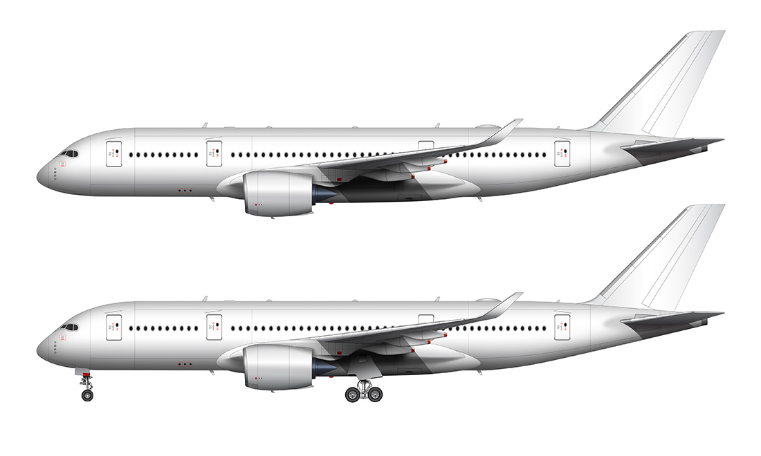all white A350-800 side view