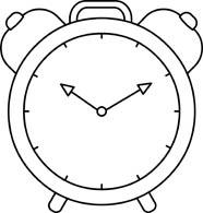 alarm clock time black white outline. Si-alarm clock time black white outline. Size: 53 Kb-5