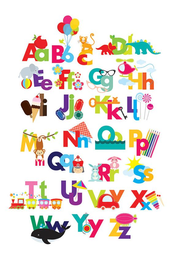 Alphabet clipart - illustrated .