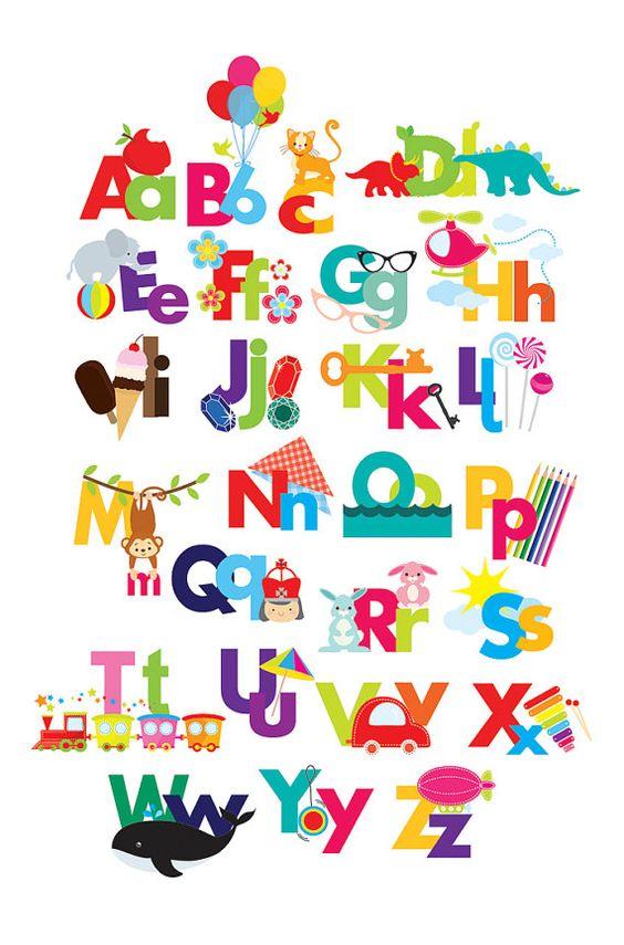 Alphabet clipart - illustrated .