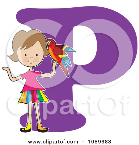 Alphabet Girl Holding A Partot Over Lett-Alphabet Girl Holding A Partot Over Letter P-11
