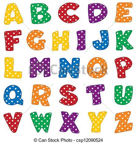 Alphabet, White Polka Dots . - Alphabet Clipart