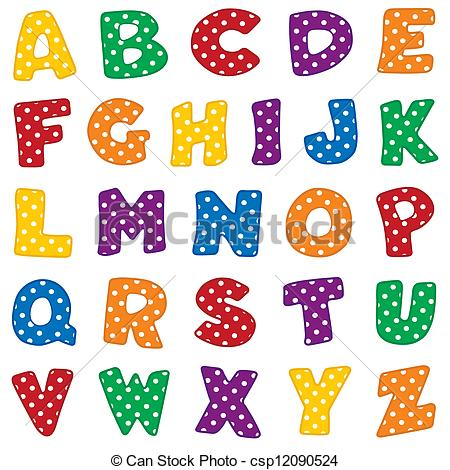 Alphabet, White Polka Dots .-Alphabet, White Polka Dots .-10