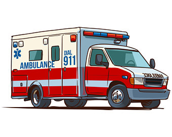 Ambulance car clipart, Ambulance clipart, EMT clipart,  Cartoon,Vector,Silhouette,