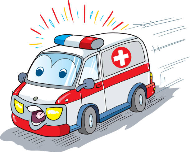 car ambulance mascot vector art illustration