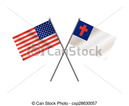... American and Christian Flags Illustration - An illustration.