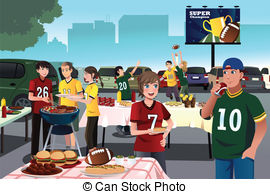 ... American Football Fans Having A Tail-... American football fans having a tailgate party - A vector.-0