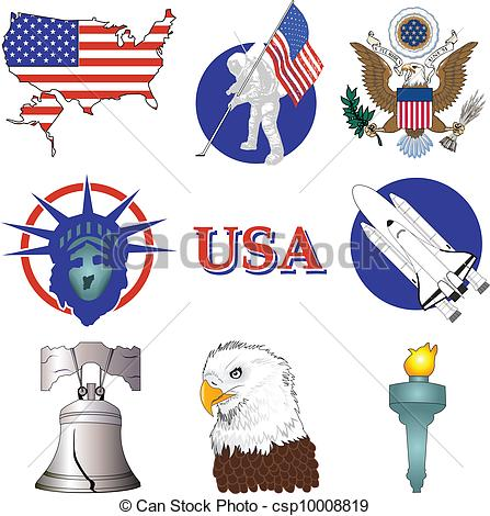 American History Drawingsby Liveslow0/16-American History Drawingsby liveslow0/166; American Icons - Vector Illustration of nine American.-5