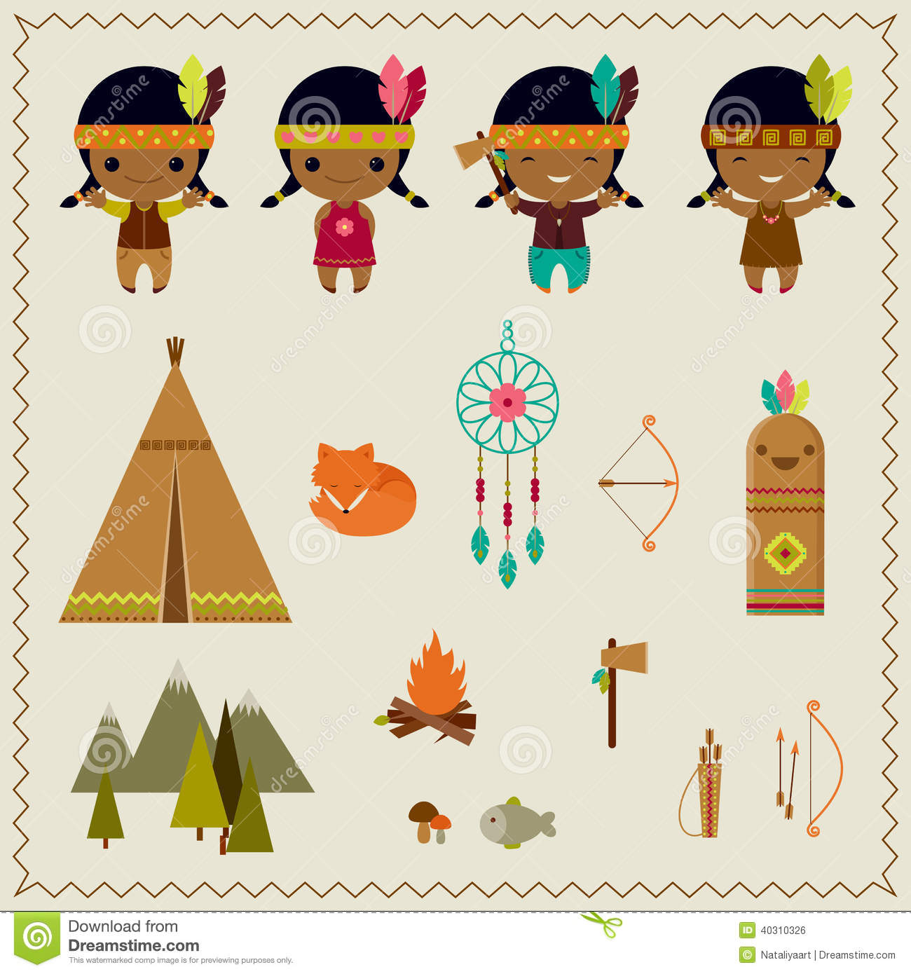 American Indian Clipart Icons Design Stock Vector Image 40310326