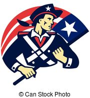 ... american-minuteman-holding-flag - vector illustration of an... ...