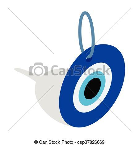 Evil eye, Turkish amulet icon, isometric 3d style - csp37826669