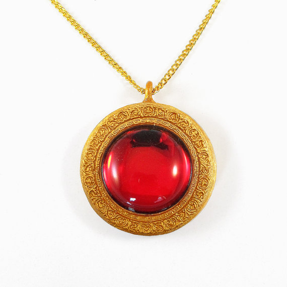 Red and Gold Sparkly Pendant and Necklace With Inscription - Secret of NIMH  Amulet