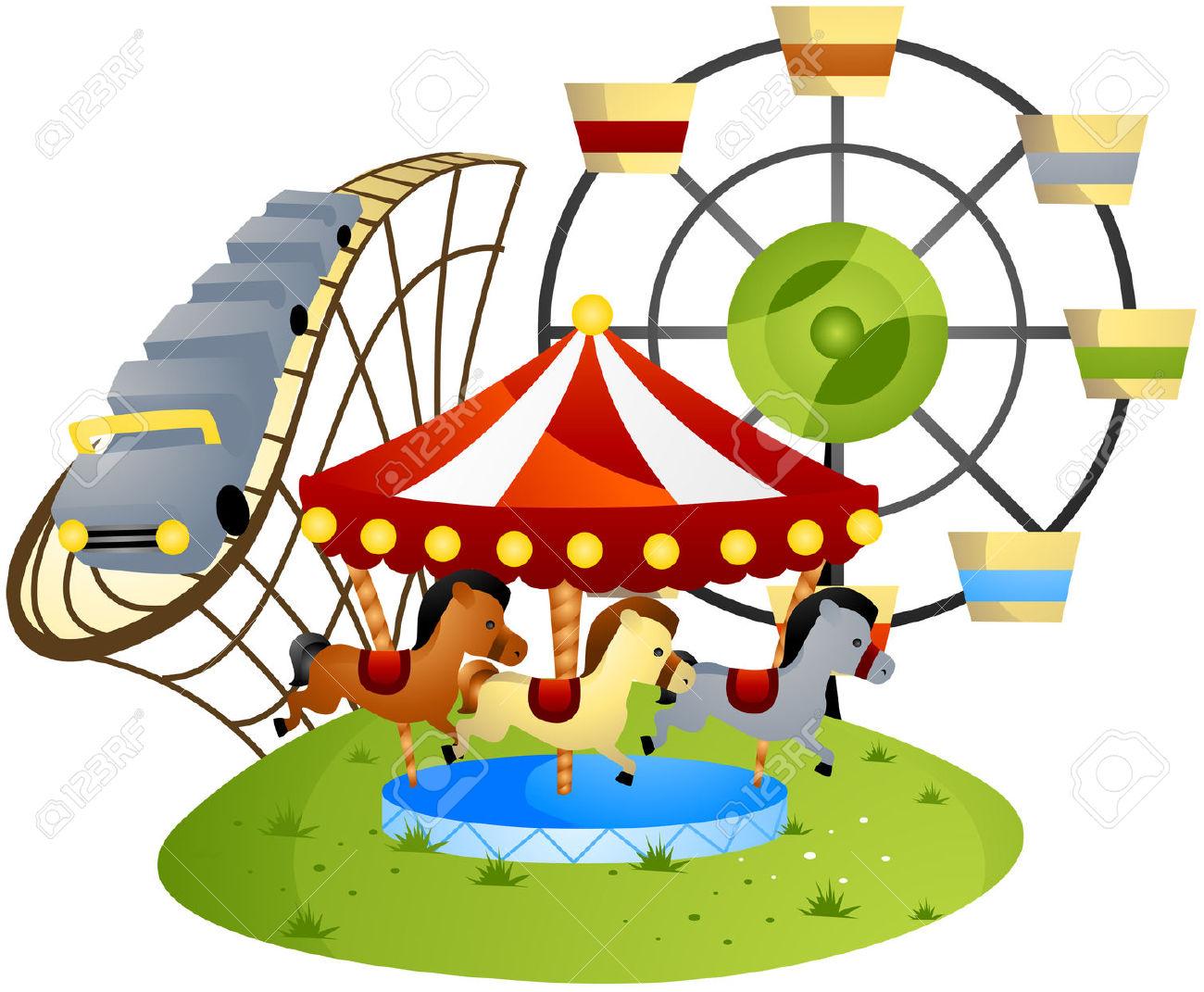 Amusement Park Cartoon With .-Amusement Park Cartoon with .-1