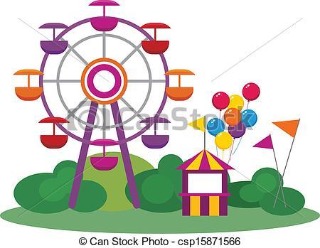 Amusement Park Clip Art Vectorby dayzeren4/469; Amusement Park - Illustration of an Amusement Park, isolated.