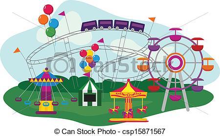 ... Amusement Park - Illustration of an Amusement Park, isolated... Amusement Park Clip Art ...