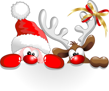 amusing christmas santa claus elements vector set
