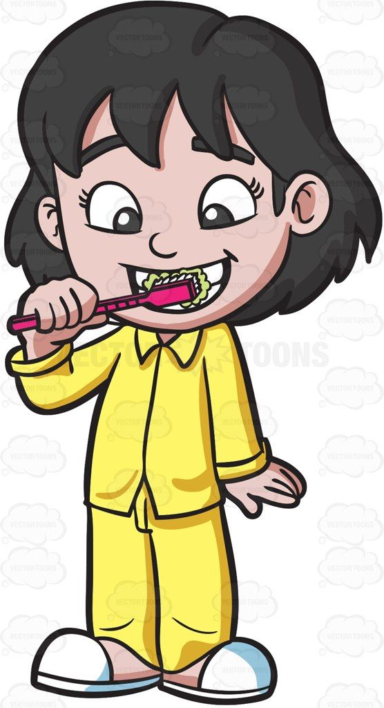 An adorable girl brushing her teeth before bedtime #cartoon #clipart #vector #vectortoons