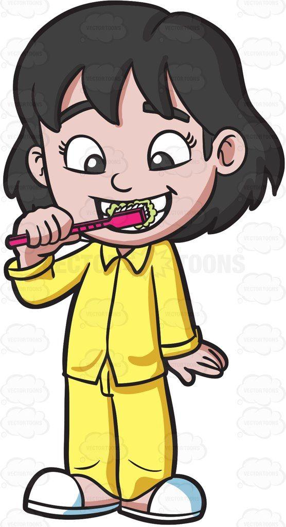 An Adorable Girl Brushing Her Teeth Befo-An adorable girl brushing her teeth before bedtime #cartoon #clipart #vector #vectortoons-0