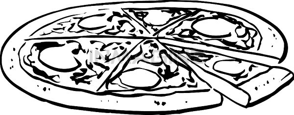 An Black And White Illustration Of A Who-An Black And White Illustration Of A Whole Pizza Clipart Free-3