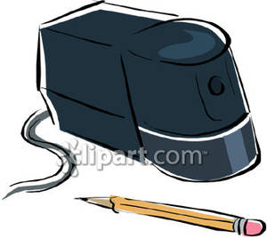 An Electric Pencil Sharpener and Pencil Royalty Free Clipart Picture