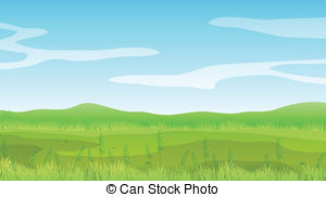 ... An empty field under a clear blue sky - Illustration of an.