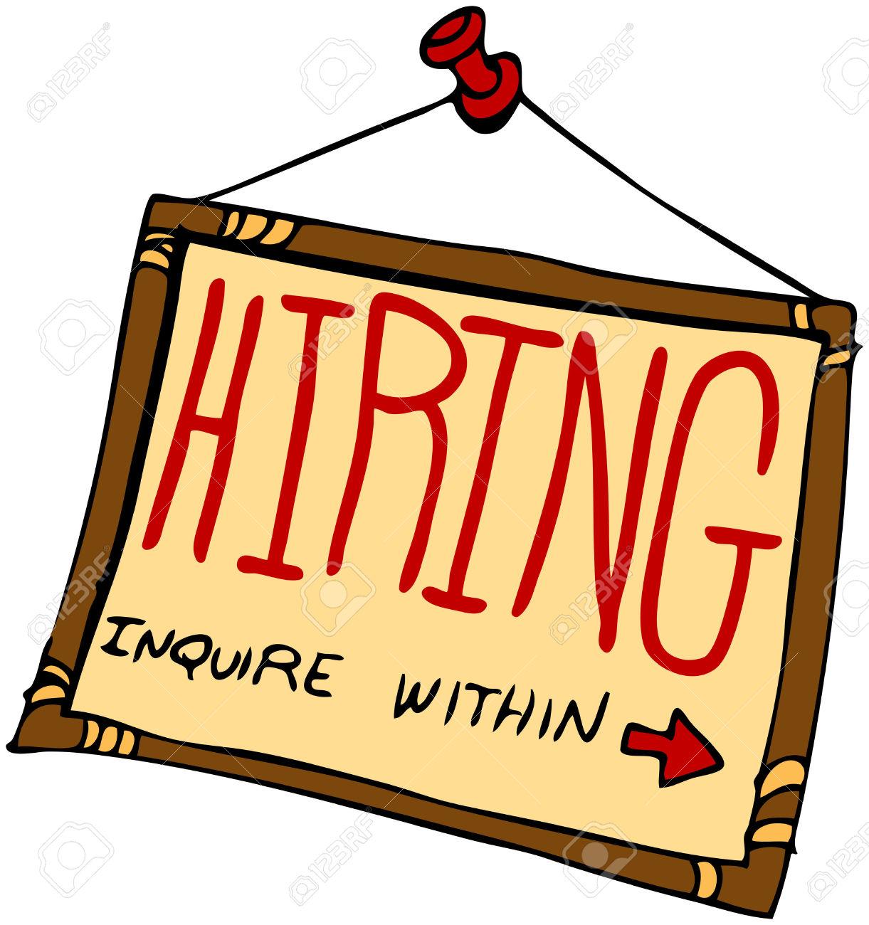 An image of a hiring sign .