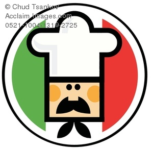 An Italian Chef In Front Of The Flag Of -An Italian Chef In Front of the Flag of Italy Clipart Image-0