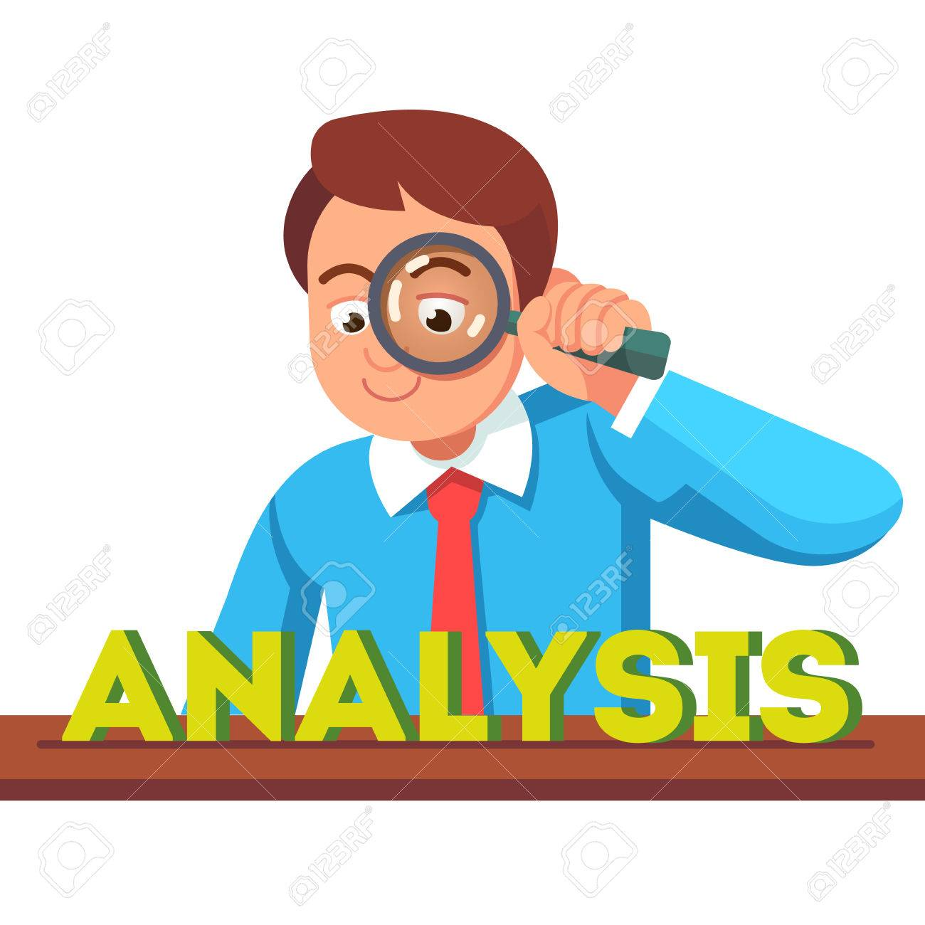 Business man looking at analysis word through magnifying glass. Financial  analyst concept. Flat style