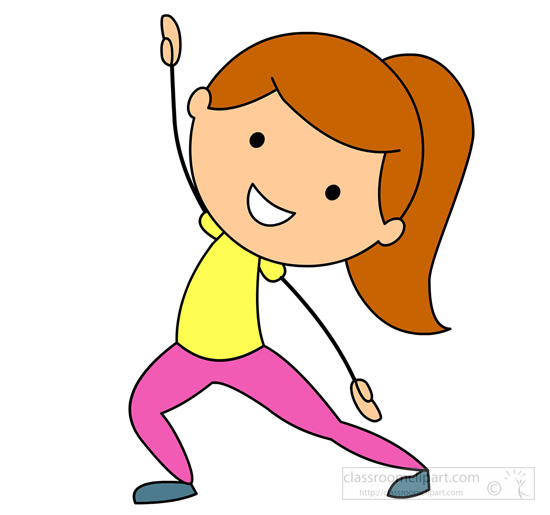 And Exercise Girl Doing Stretching Exercise Classroom Clipart