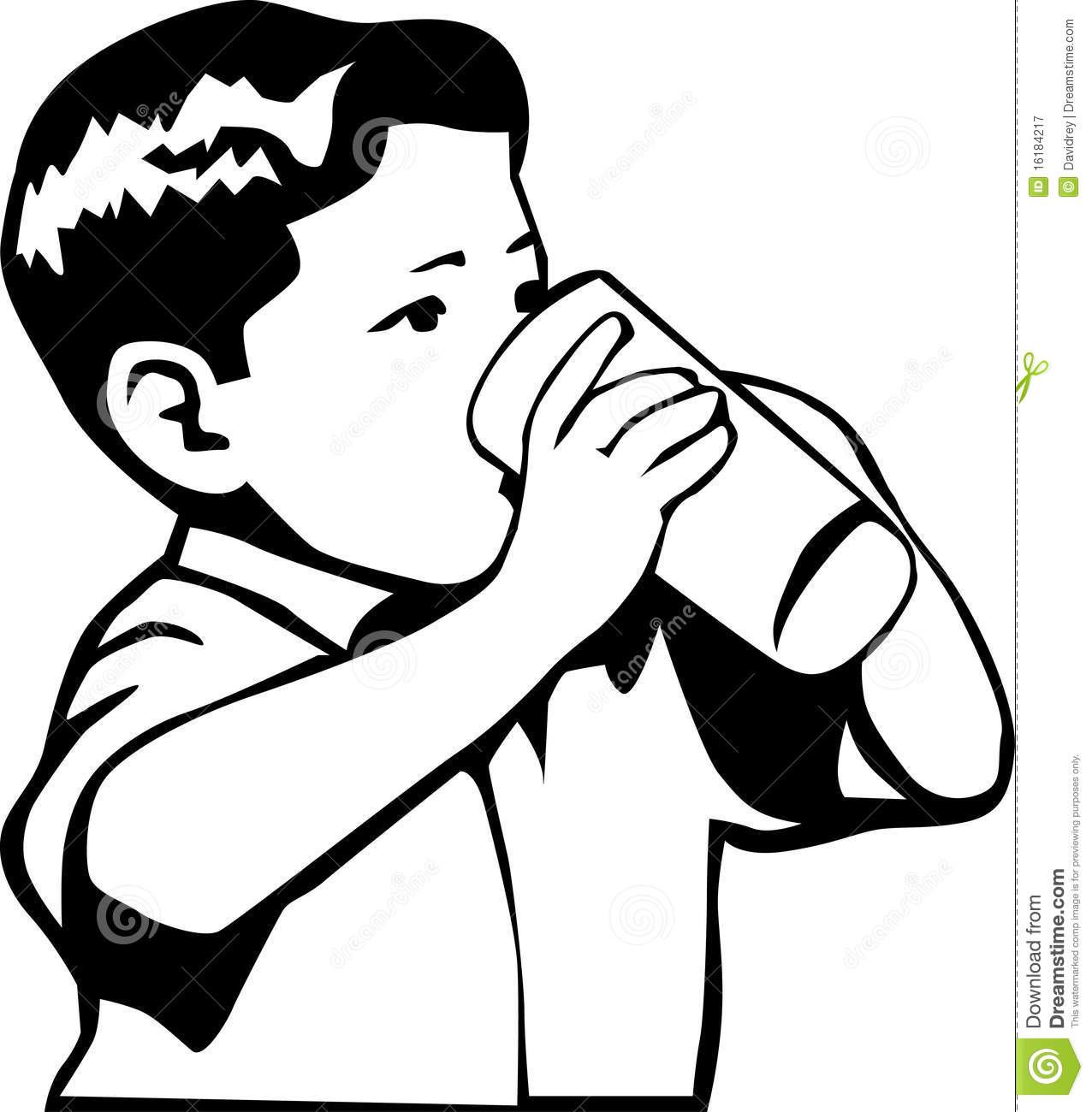 And White Retro Style Illustration Of A -And White Retro Style Illustration Of A Boy Drinking Water Or Milk-4