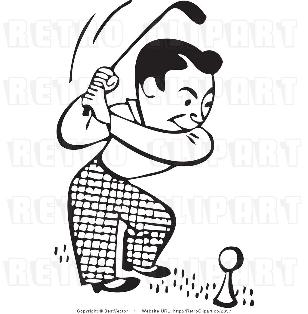 Golf retro. Clip art black