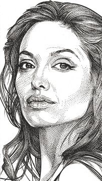 Wall Street Journal Hedcuts By Randy Gla-Wall Street Journal Hedcuts by Randy Glass, Angelina Jolie pointism-19