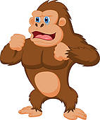 angry gorilla; cartoon gorilla ...