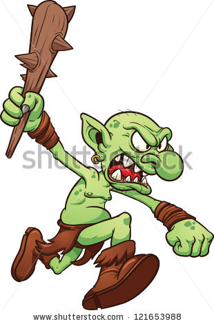 Angry running troll. Vector clip art ill-Angry running troll. Vector clip art illustration with simple gradients.  All in a single-9