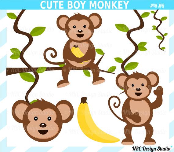 Animal Clip Art Cute Monkey Clip Art Boy-Animal Clip Art Cute Monkey Clip Art Boy Digital Monkey Clipart-18