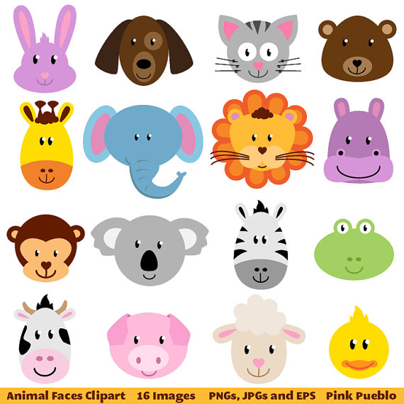 Animal Faces Clipart Clip Art Zoo Jungle-Animal Faces Clipart Clip Art Zoo Jungle Farm Barnyard Forest-5