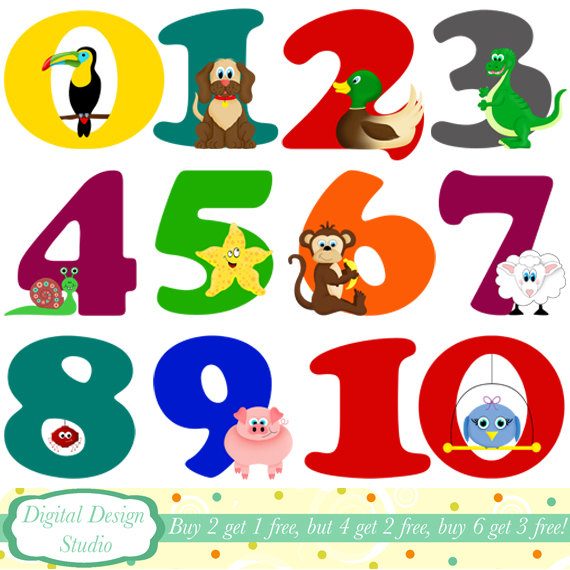 Animal numbers digital clip art INSTANT by DigitalDesignStudio