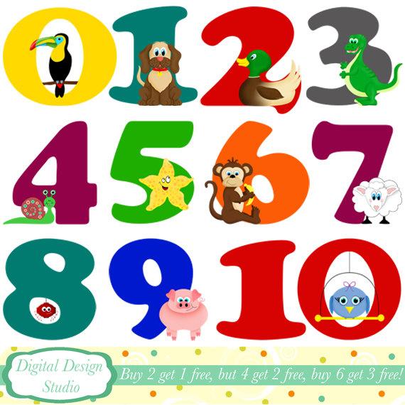 Animal numbers digital clip .-Animal numbers digital clip .-12