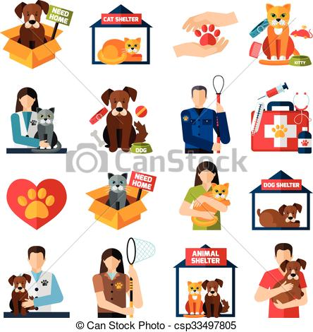 ... Animal shelter icons set with volunteers with cats and dogs.