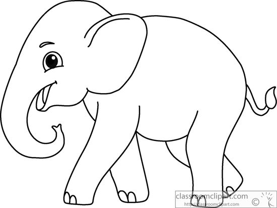 Animals Asian Elephant Black White Outline 914 Classroom Clipart